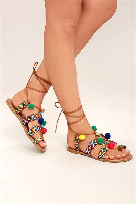 Sandal Pompom Flat pompom sandals embroidered sandals lace up flat