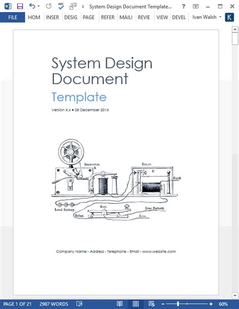 design document template for software development system design document templates requirements