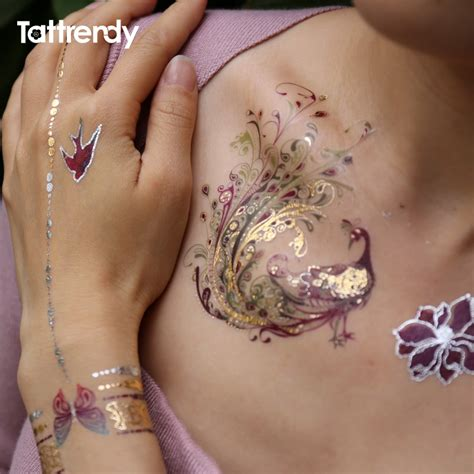 feather tattoo gold flash metallic waterproof tattoo temporary color gold