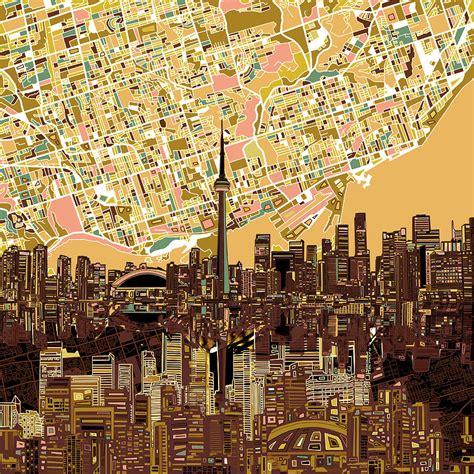 Toronto Artwork by Toronto Skyline Abstract 9 Painting By Bekim Art