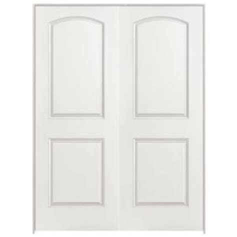 interior double doors home depot masonite 48 in x 80 in roman smooth 2 panel round top