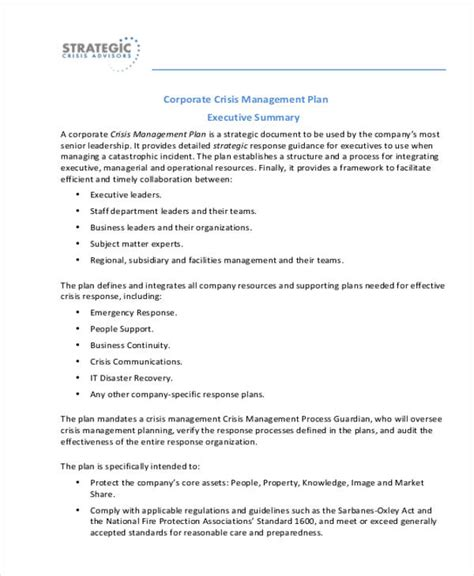 crisis management plan templates 9 free word pdf format