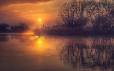 sunrise reflection calm lake nature landscape water