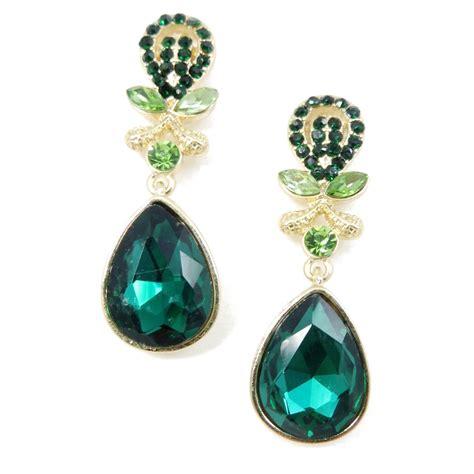 emerald floral teardrop earrings