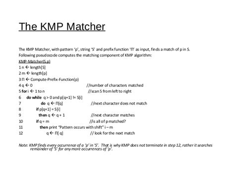complexity of pattern matching algorithm kmp pattern matching algorithm