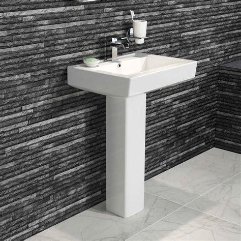 Modern Ceramic Square Basin And Pedestal Single Tap Hole