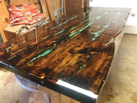 wooden extendable table with granite in lays for sale in turquoise tables and epoxy on pinterest
