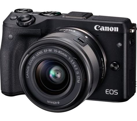 Canon Eos M3 Mirrorless buy canon eos m3 mirrorless with 15 45 mm f 3 5 6 3 lens black free delivery currys