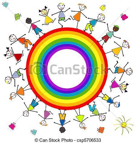 clipart arcobaleno disegni di stilizzato arcobaleno bambini intorno