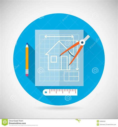 vector plan blue print flat design stock vector engineering planning symbol blueprint and compass stock