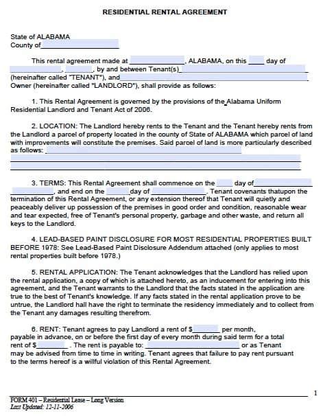 Free Alabama Month To Month Rental Agreement Pdf Template Lease Template Pdf