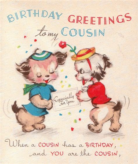 Birthday Cards For Cousin Vintage 1950s Birthday Greetings To My Cousin Card