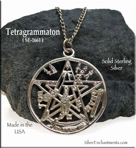 Sterling Silver Tetragrammaton Pendant or Necklace, Jewish Mysticism