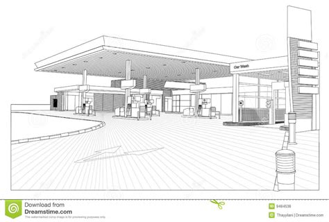 House Plans With Dimensions by Petrol Station Outline View Stock Illustration Image