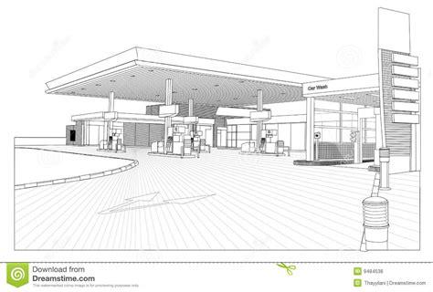 sle business plan gas station petrol station outline view stock illustration