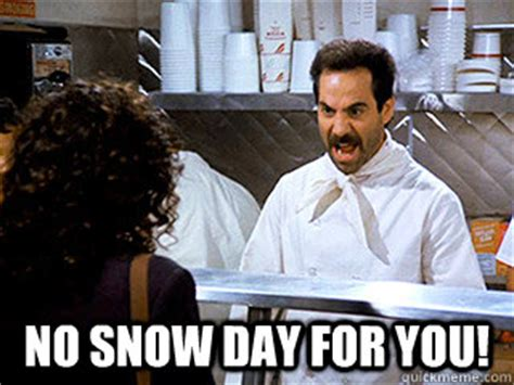 Snow Day Meme - the simultaneously best and worst things about being an