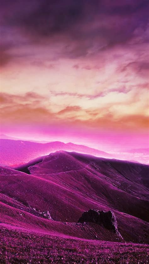 purple hills hd wallpaper   mobile phone