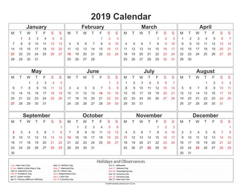Printable Yearly Calendar 2019 | free printable calendar 2019 with holidays in word excel pdf