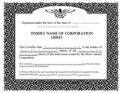 blank stock certificates 5 immediate download