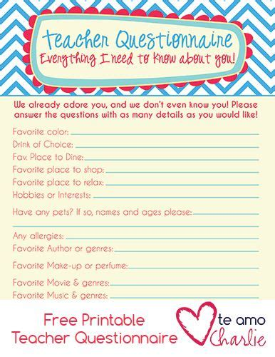 printable questionnaire for students back to school free printable teacher questionnaire