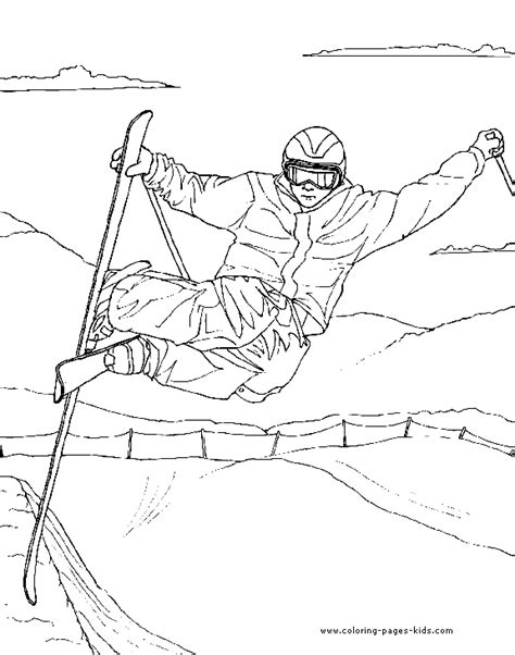 skiing printable coloring pages