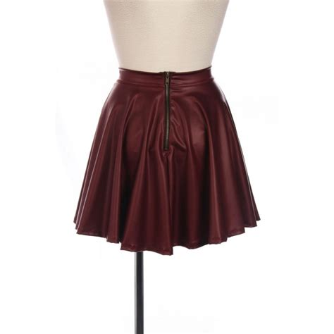 burgundy faux leather skater skirt