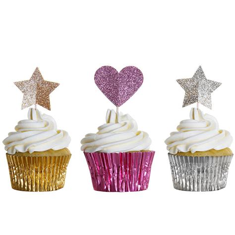 Cupcake Decorations by 12 Sparkly Cupcake Toppers By Wit Wisdom