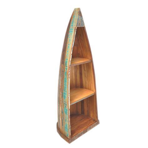 boat shaped display shelf nirvana reclaimed recycled boat shaped timber bookshelf