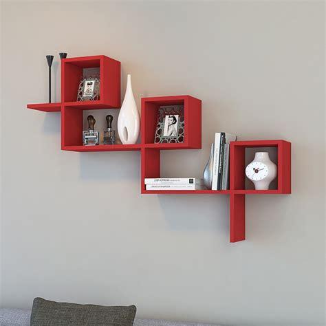mensola moderna mensola larry a muro moderna in legno bianco o rosso