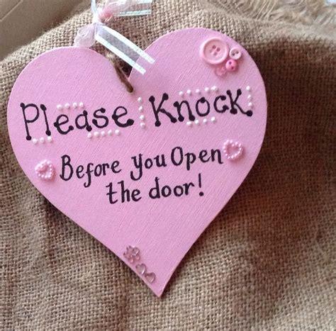 cute bedroom signs please knock before you open the door pink heart girls