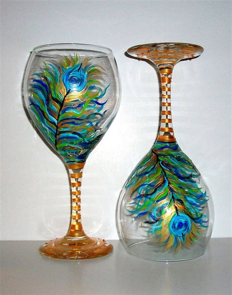 wedding gift wine for occasions painted wine goblet glasses peacock feathers wedding