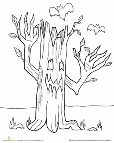 haunted tree coloring page color the haunted tree coloring page education com