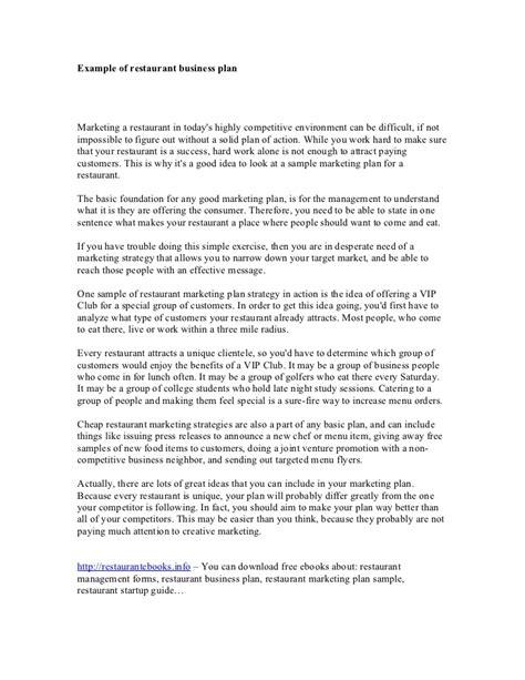 sle restaurant business proposal exle of restaurant business plan