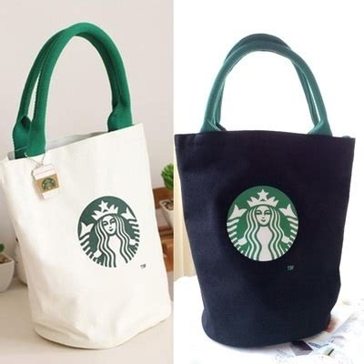 Tote Bag Kanvas Starbucks qoo10 starbucks 2 colors canvas lunch tote bag with