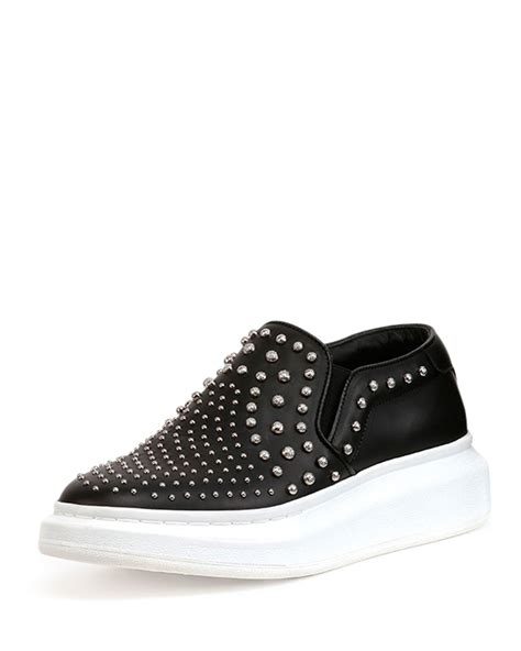 mcqueen sneakers womens lyst mcqueen studded leather slip on sneakers