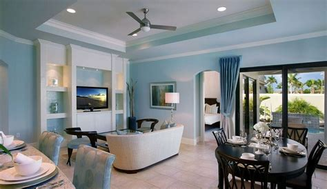 blue living room and kitchen