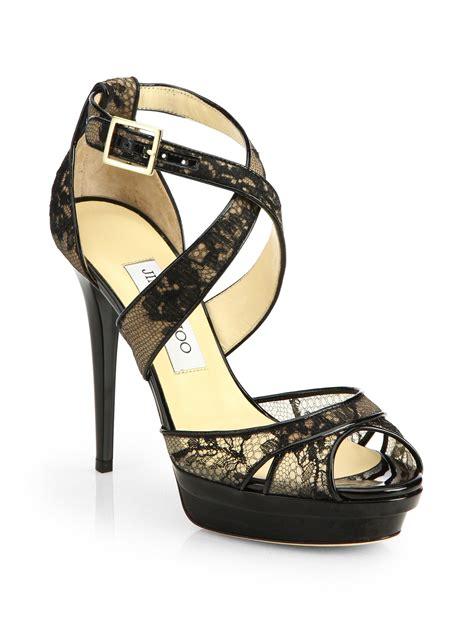 jimmy choo platform sandals jimmy choo kuki lace platform sandals in black lyst