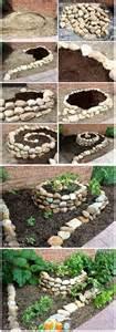Garden Bed Rocks Spiral Raised Rock Garden To Try Gardening