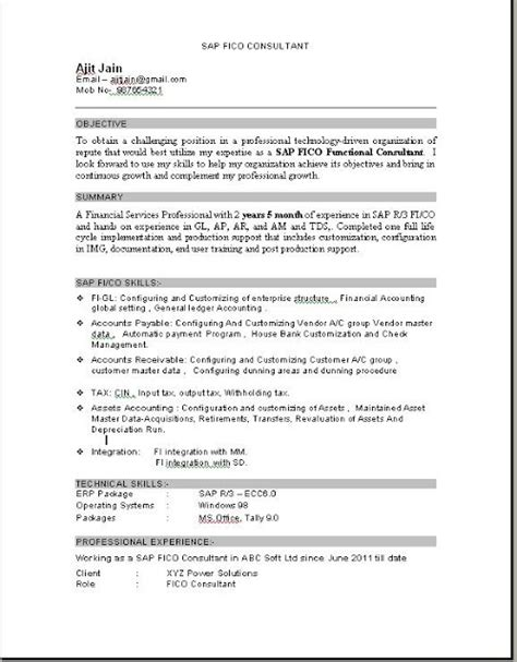 Resume Sle For Fitness Consultant Sap Fico Consultant Resume