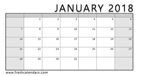 printable january 2018 calendar cute free design and templates