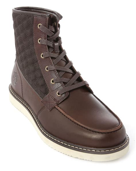 brown leather timberland boots timberland newmarket brown leather and padded boots