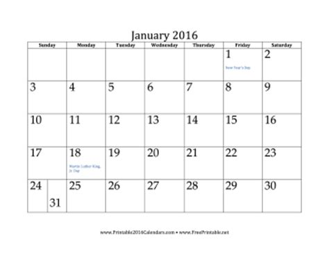 free printable planner january 2016 printable january 2016 calendar