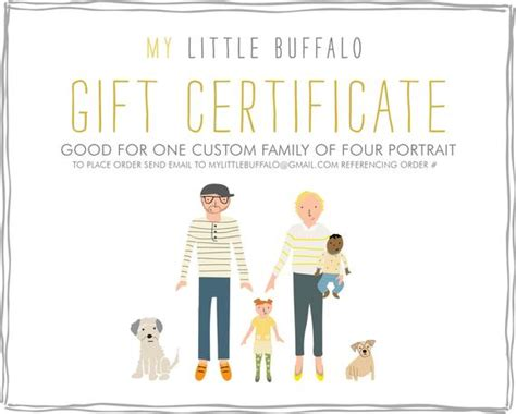 one gift for entire family gift certificate for a custom family portrait family of four