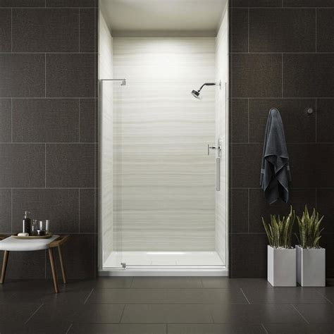 pivot frameless shower door shop kohler revel 39 125 in to 44 in frameless brushed