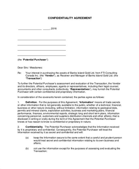 supplier confidentiality agreement template supplier confidentiality agreement template 28 images