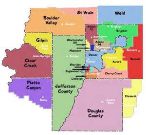 denver colorado county map school districts area metro denver school districts map