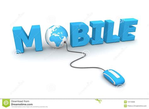 browse mobile blue mouse royalty free stock image