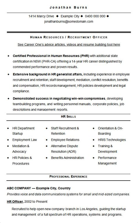 Hr Recruitment Template Sle Resume Hr Generalist