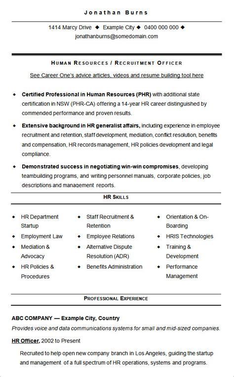 HR recruiter cv sample
