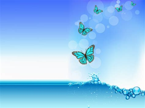 water wave with butterfly ppt backgrounds 1024x768